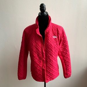 North Face Raspberry Quilted Coat Large
